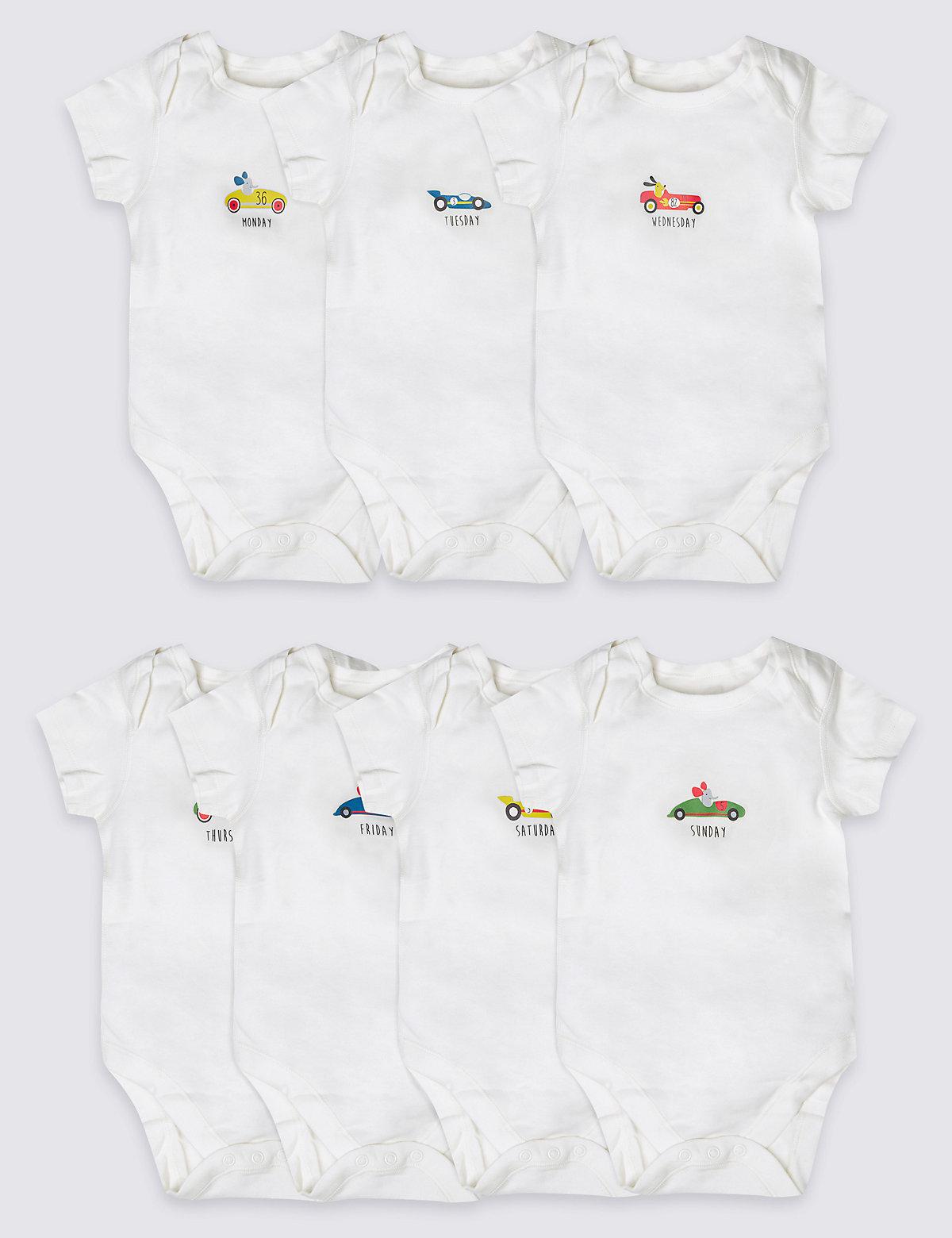 7 Pack Pure Cotton Short Sleeve Bodysuits