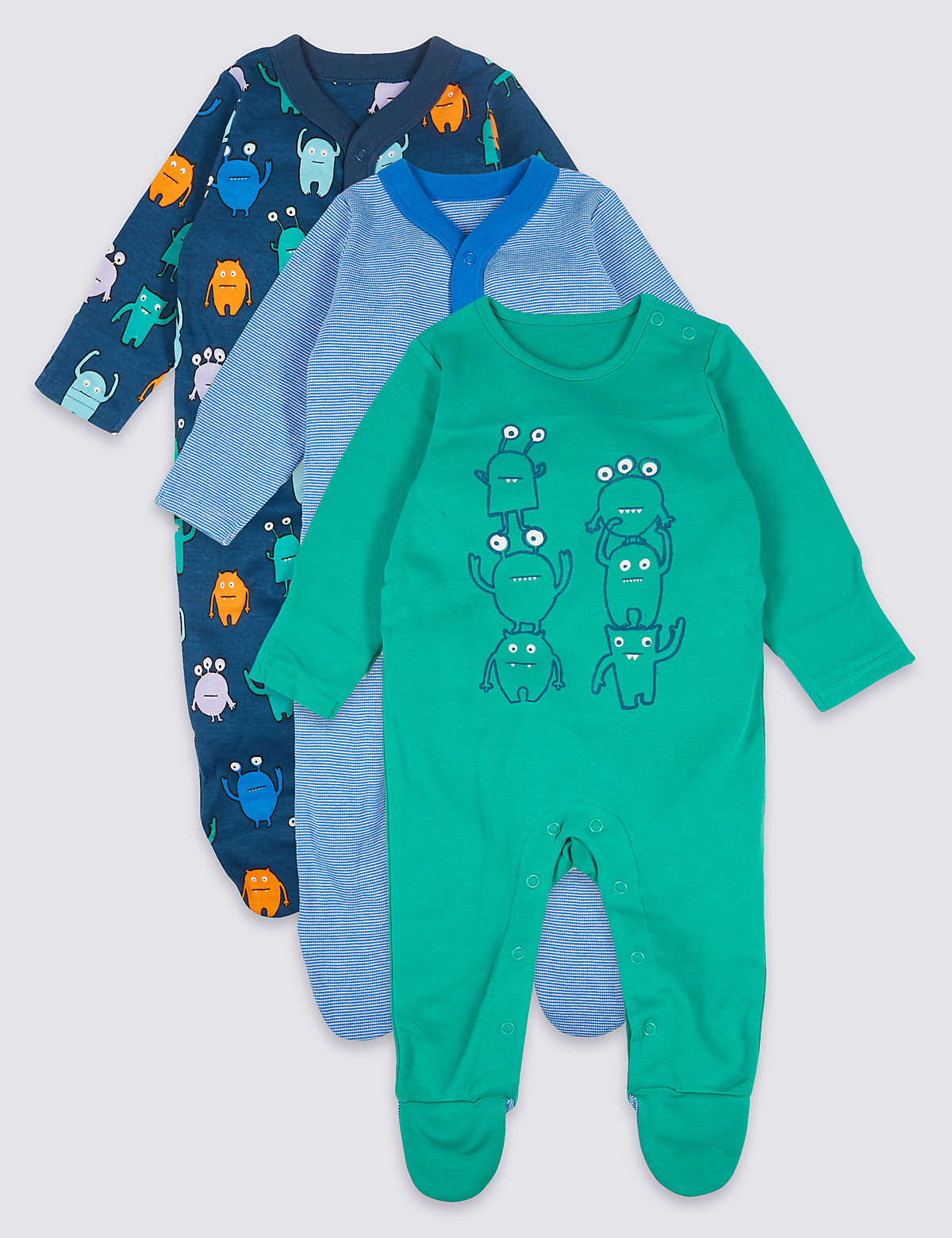 3 Pack Pure Cotton Monster Sleepsuits