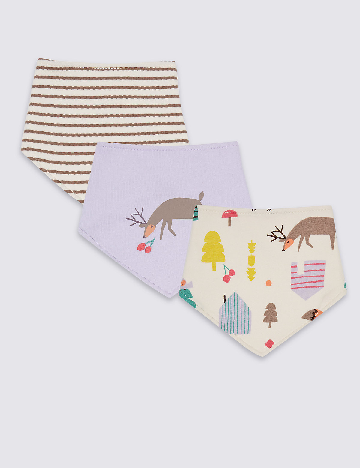 3 Pack Pure Cotton Woodland Bibs