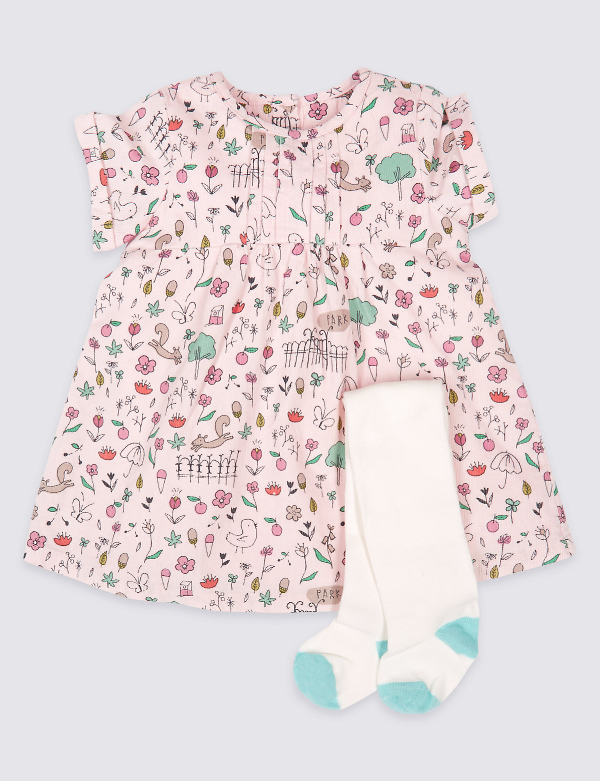 2 Piece Printed Cord Baby Dress with Tights