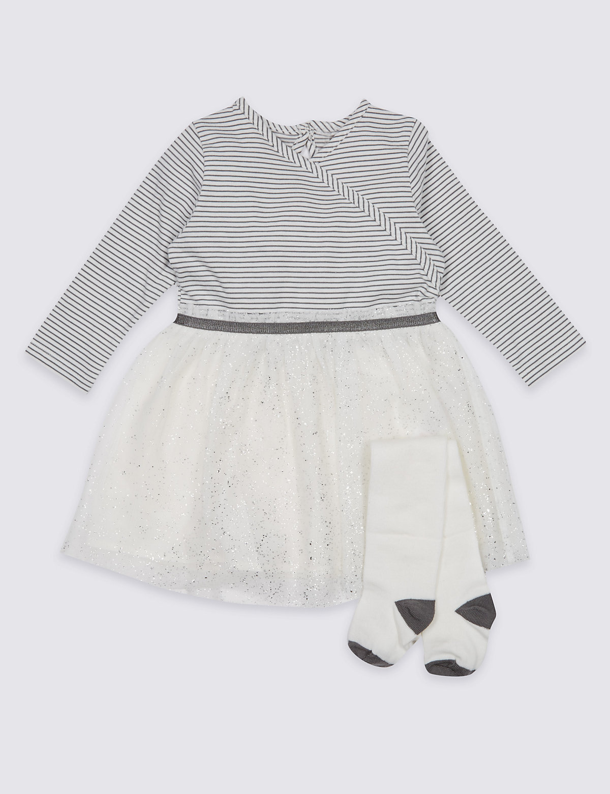 2 Piece Ballet Wrap Baby Dress with Tights