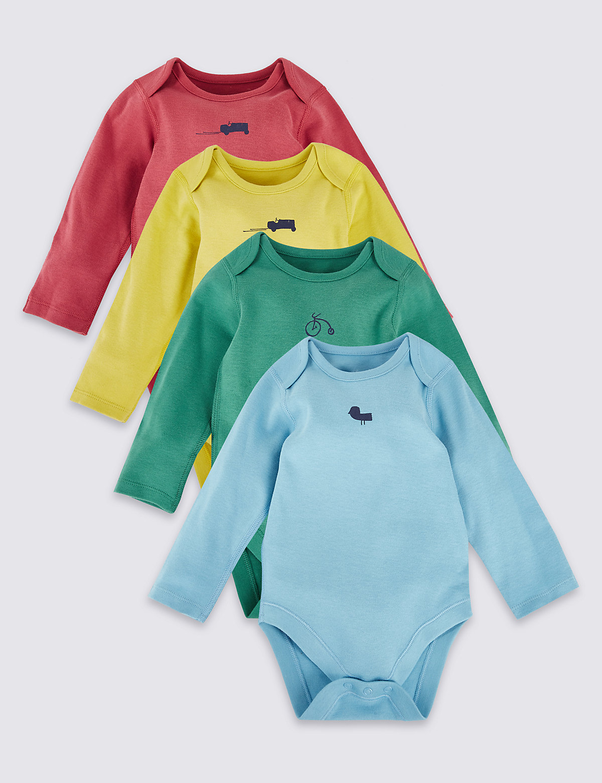 4 Pack Pure Cotton Long Sleeve Bodysuits