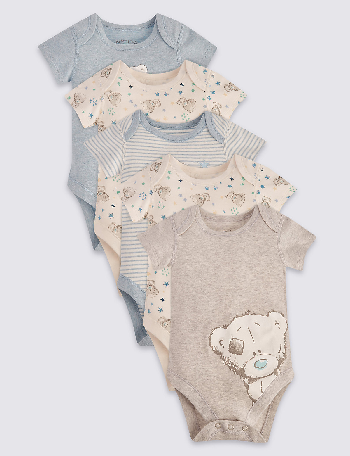 Tiny Tatty Teddy 5 Pack Short Sleeve Bodysuits