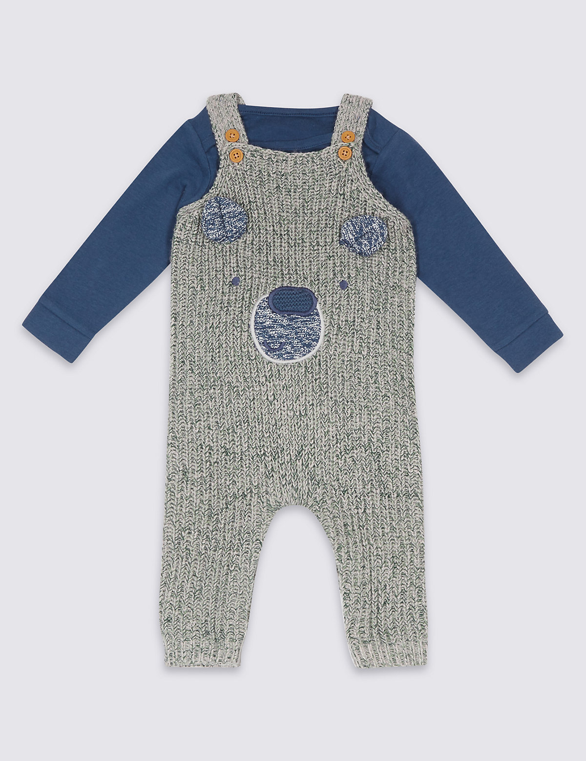 2 Piece Knitted Dungarees & Bodysuit Outfit