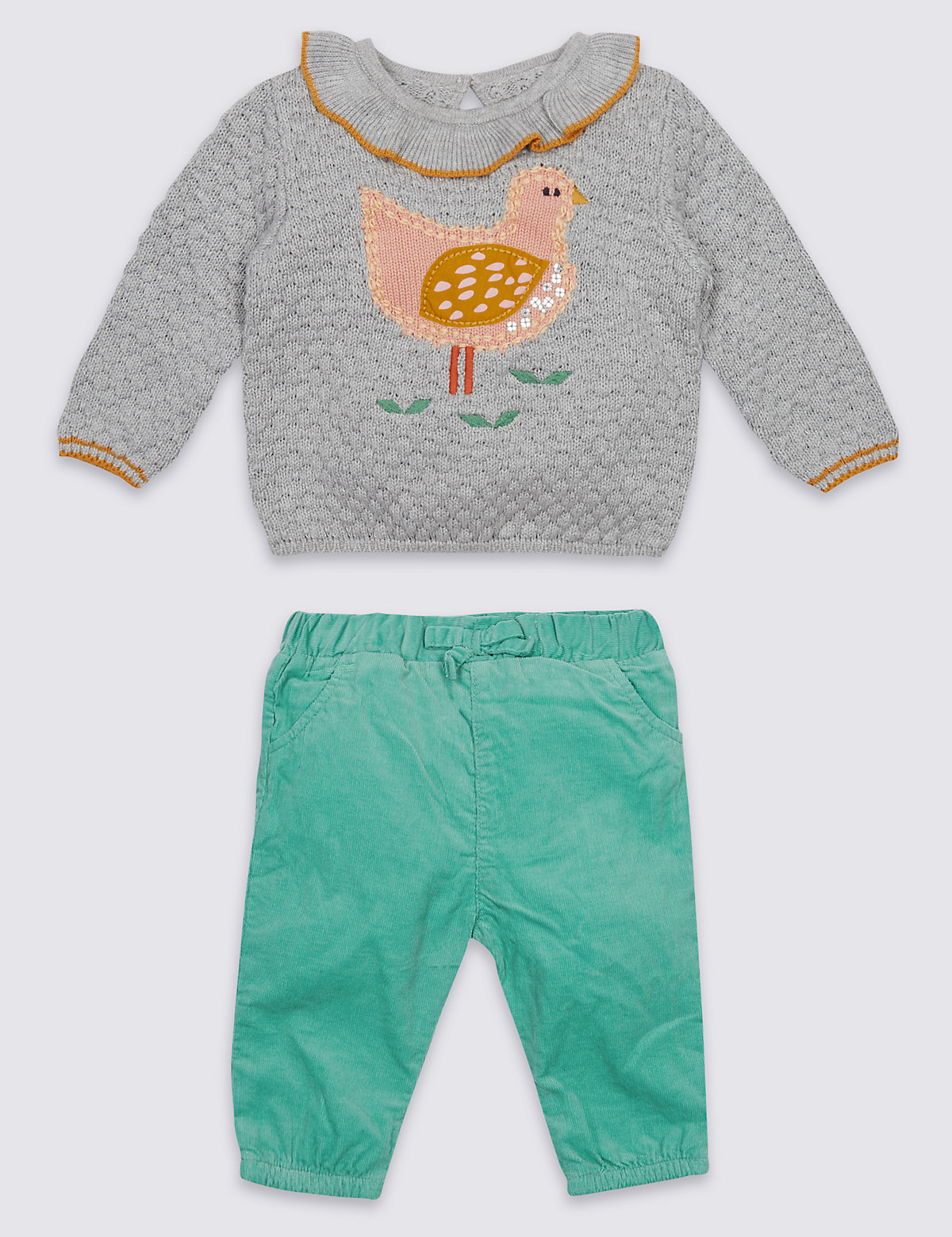 2 Piece Bird Jumper & Cord Bottom Outfit
