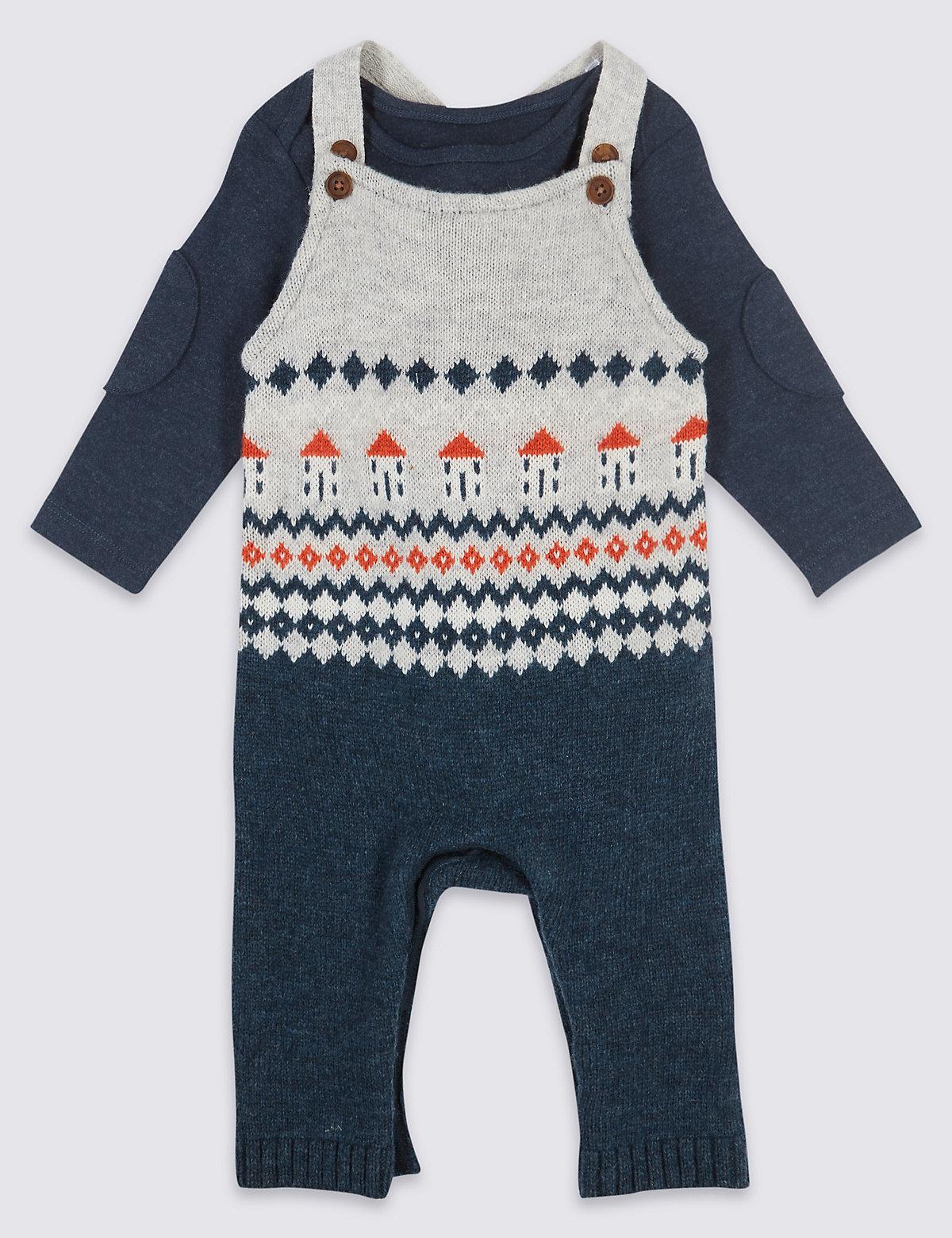 2 Piece Fairisle Knitted Dungarees & Bodysuit
