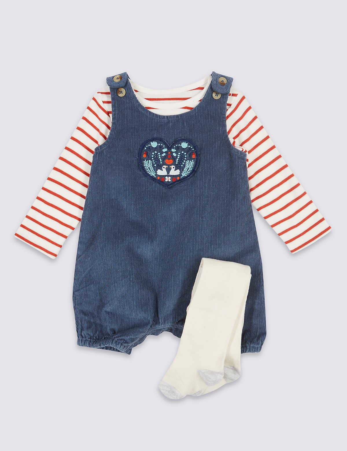 3 Piece Bib Short & Bodysuit with Tights Outfit