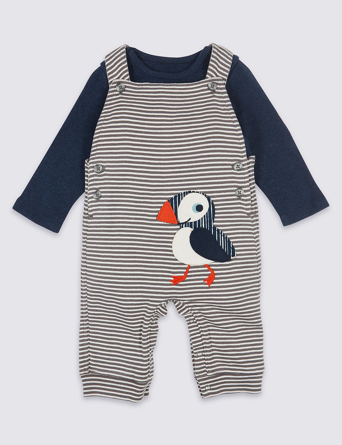 2 Piece Puffin Dungarees & Bodysuit Outfit