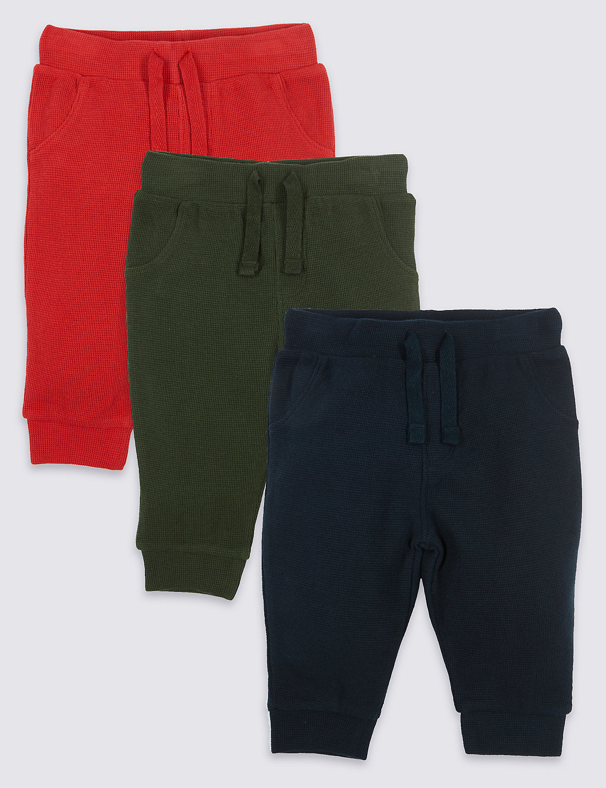 3 Pack Pure Cotton Waffle Joggers