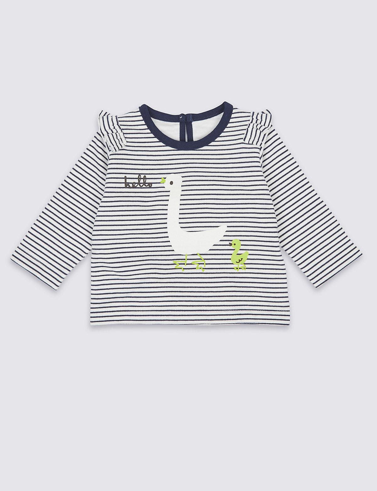 Pure Cotton Striped Sweatshirt