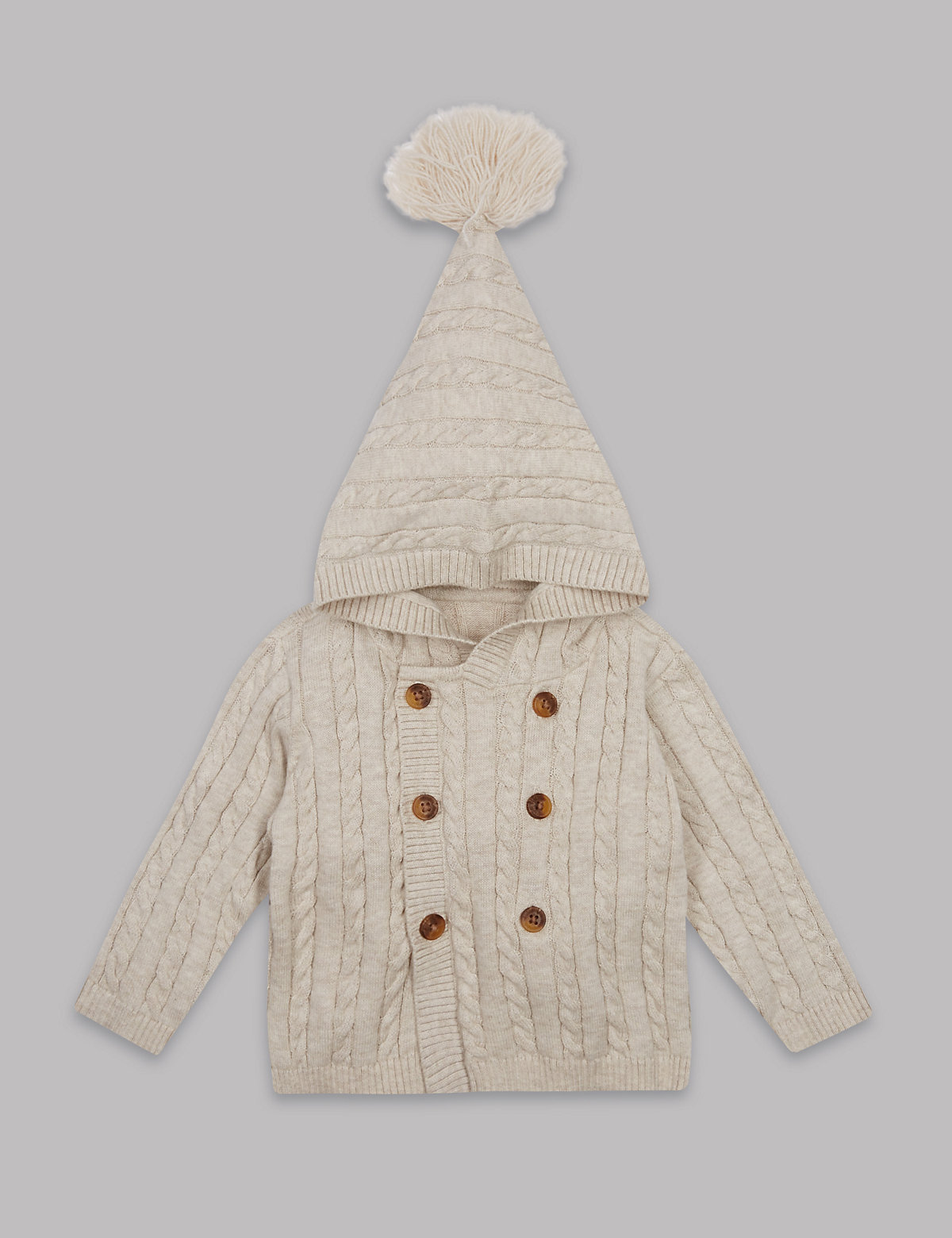 Autograph Pure Cotton Cable Knit Hooded Cardigan