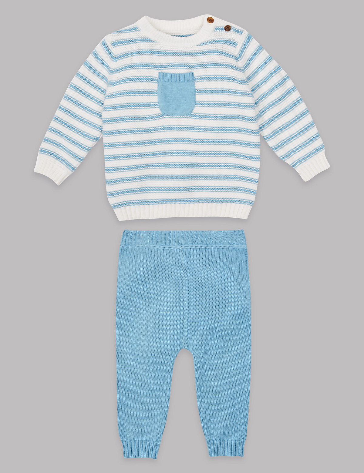 Autograph 2 Piece Pure Cotton Knitted Top & Bottom Outfit