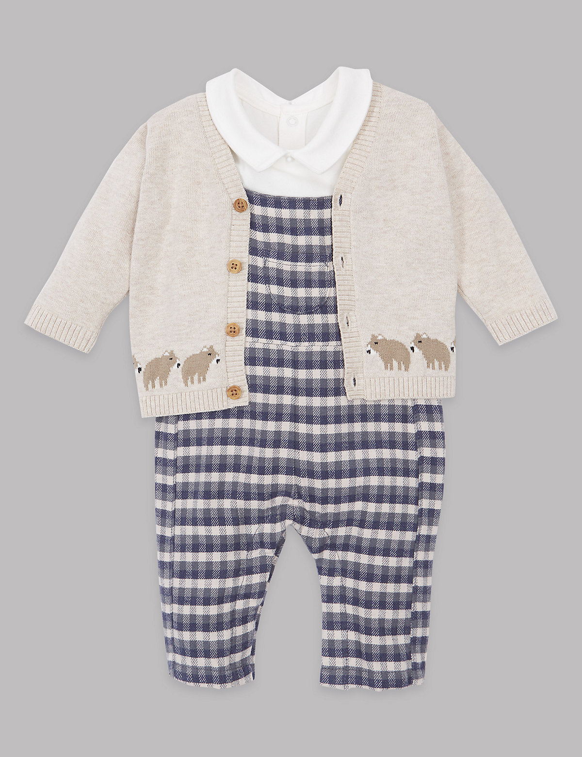 Autograph 3 Piece Bodysuit & Cardigan with Dungaree Outfit