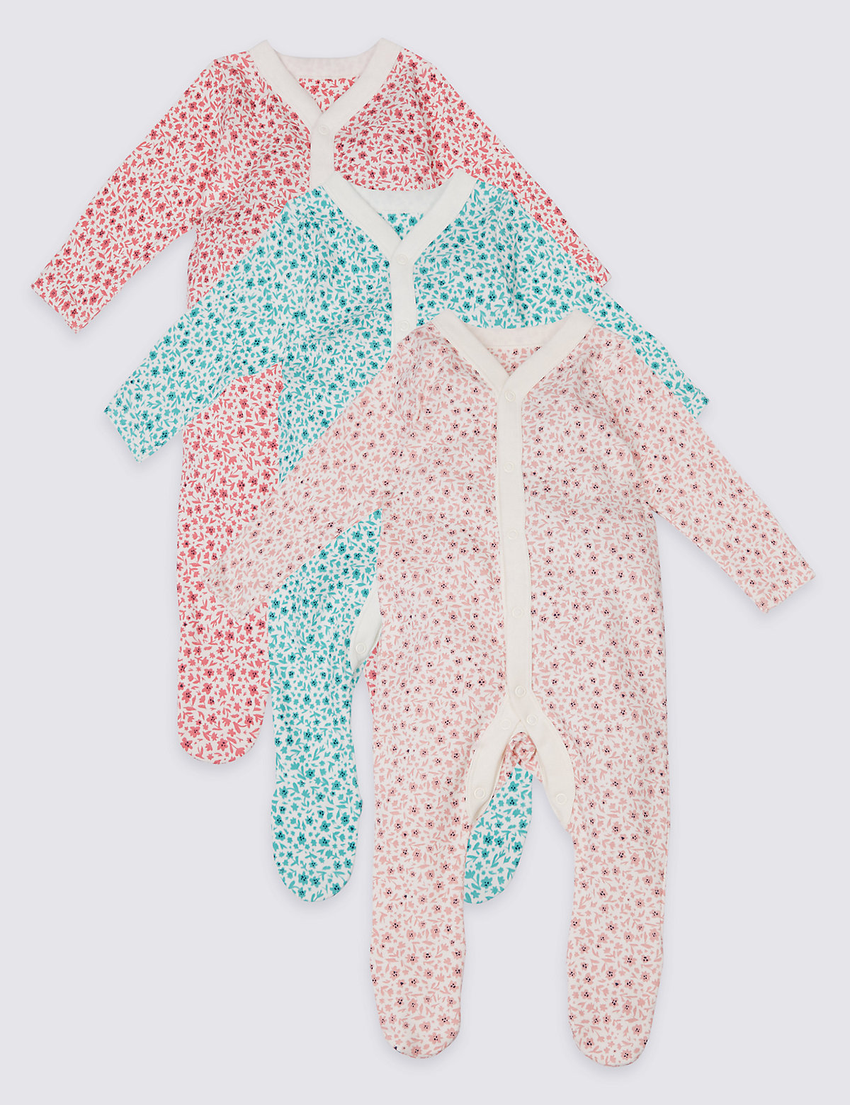 3 Pack Pure Cotton Ditsy Floral Print Sleepsuits