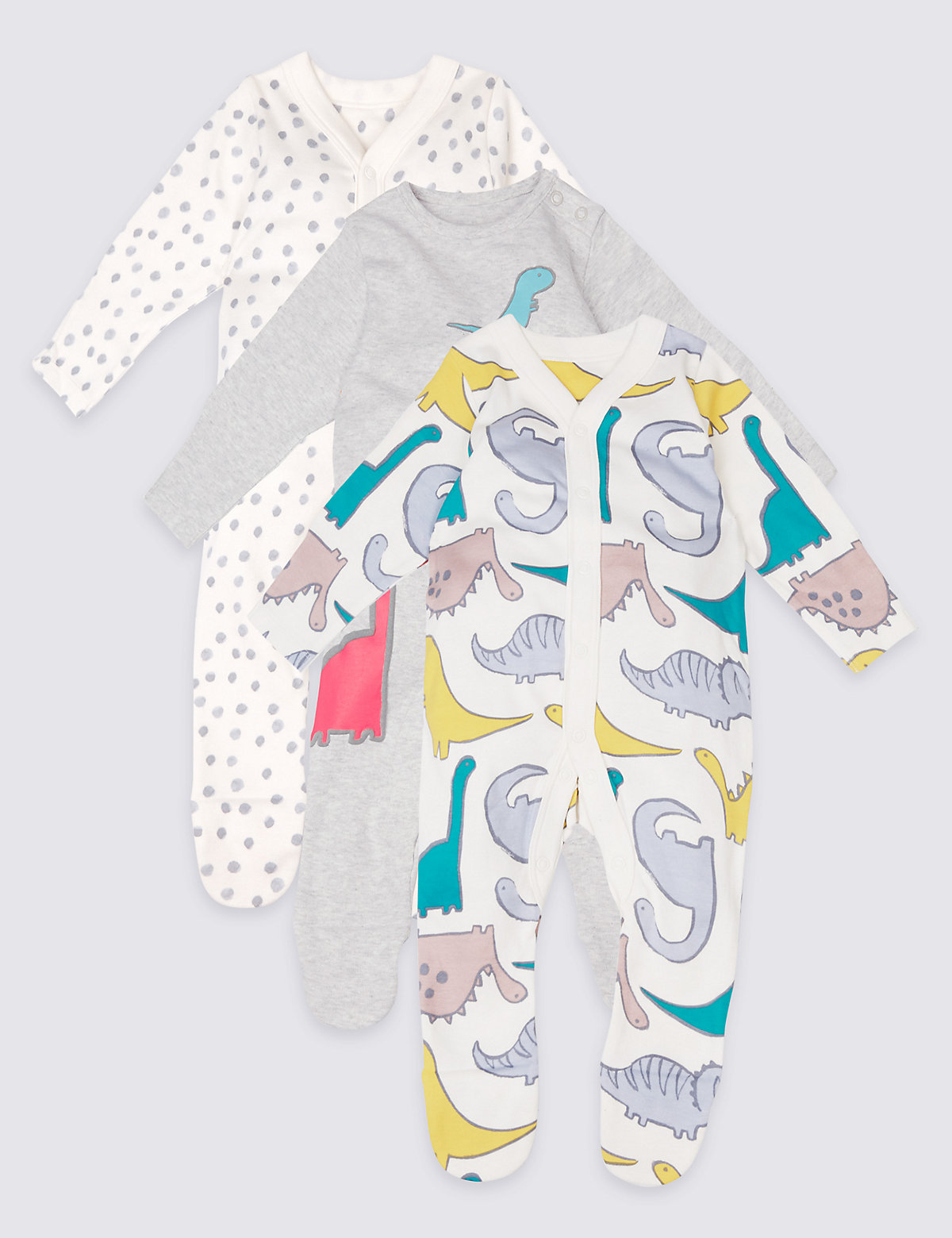 3 Pack Pure Cotton Dino Print Sleepsuits
