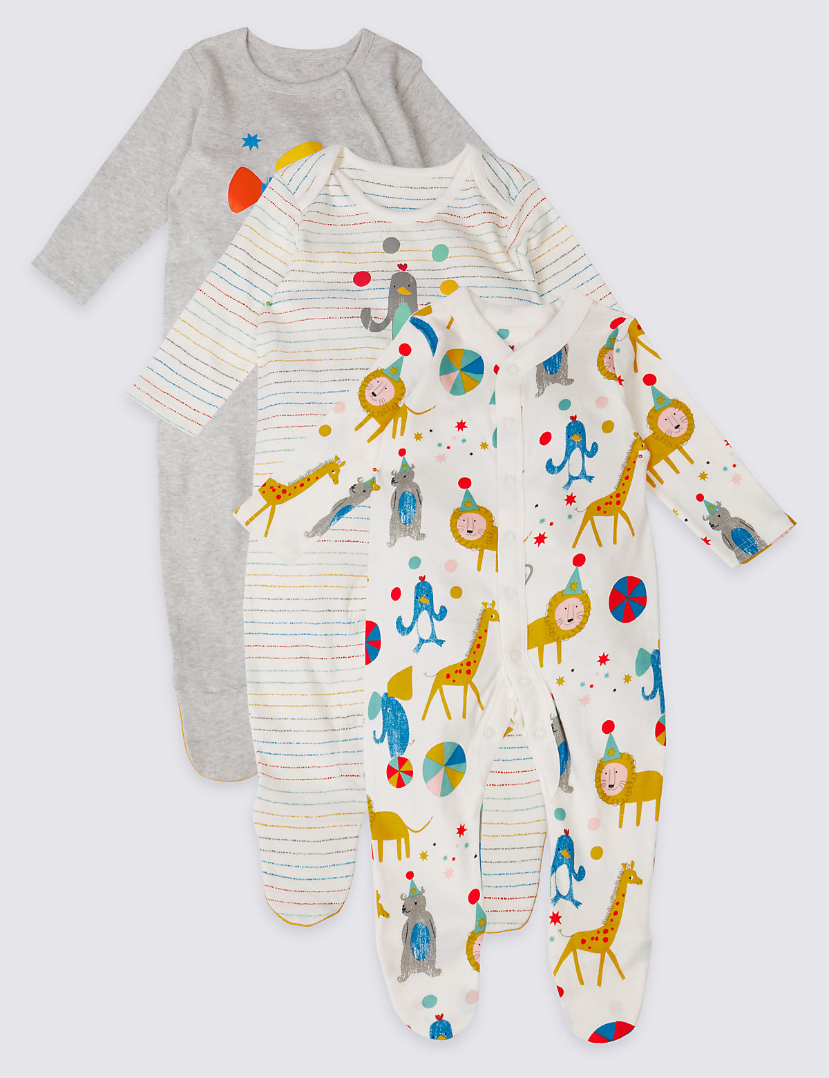 3 Pack Pure Cotton Animal Party Sleepsuits