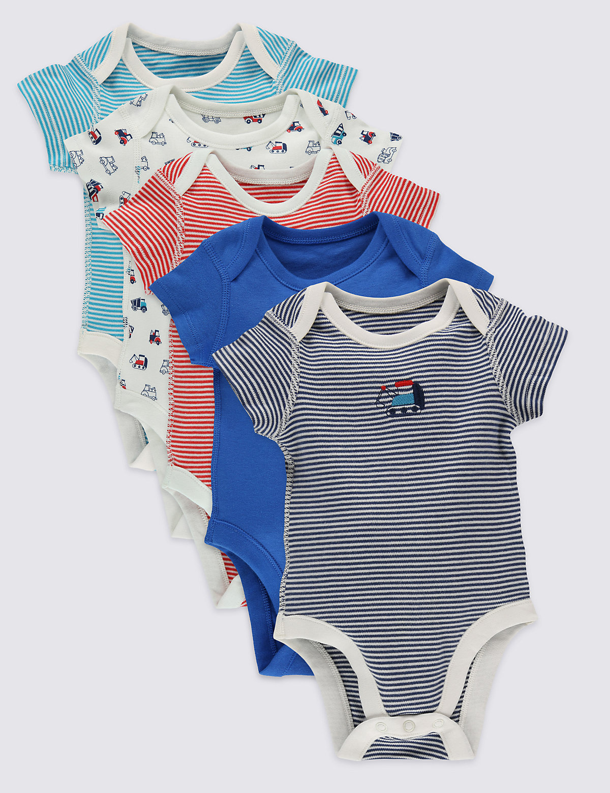 5 Pack Pure Cotton Baby Bodysuits