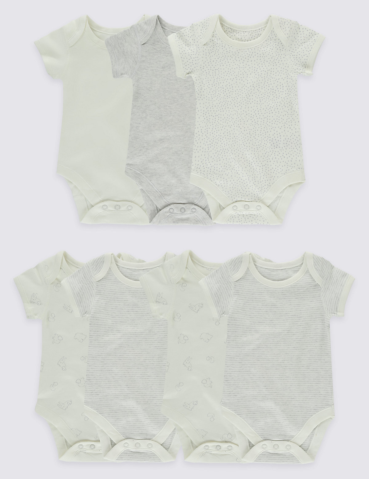 7 Pack Pure Cotton Flat Seams Bodysuits