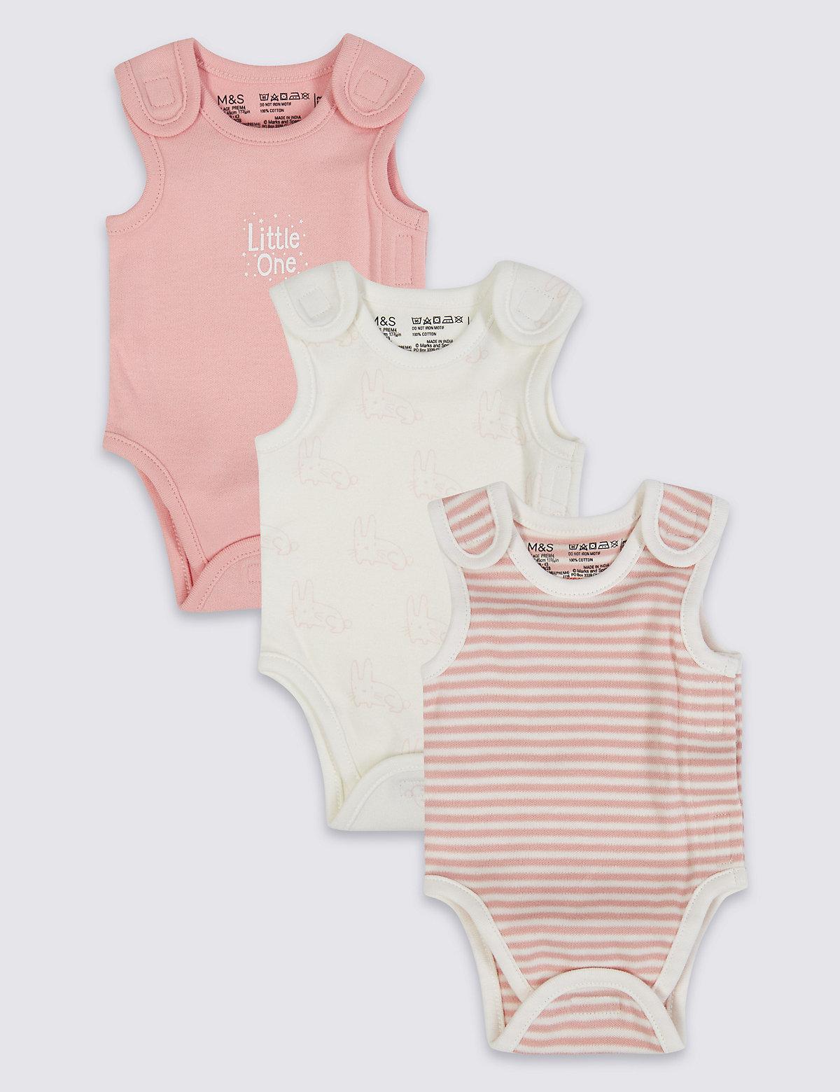 3 Pack Girls Premature Bodysuits