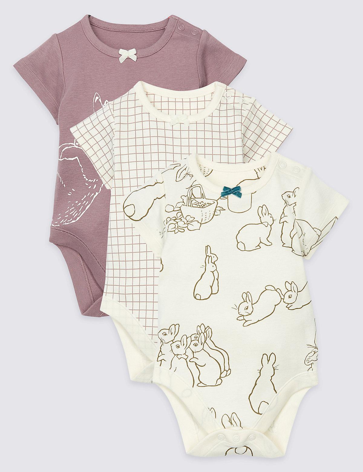 3 Pack Pure Cotton Peter Rabbit Bodysuits