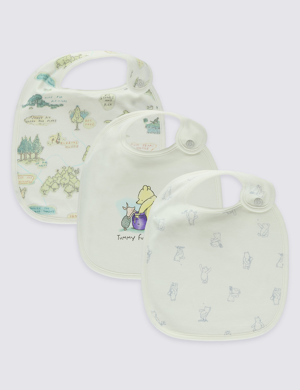 Winnie the Pooh 3 Pack Pure Cotton Baby Bibs