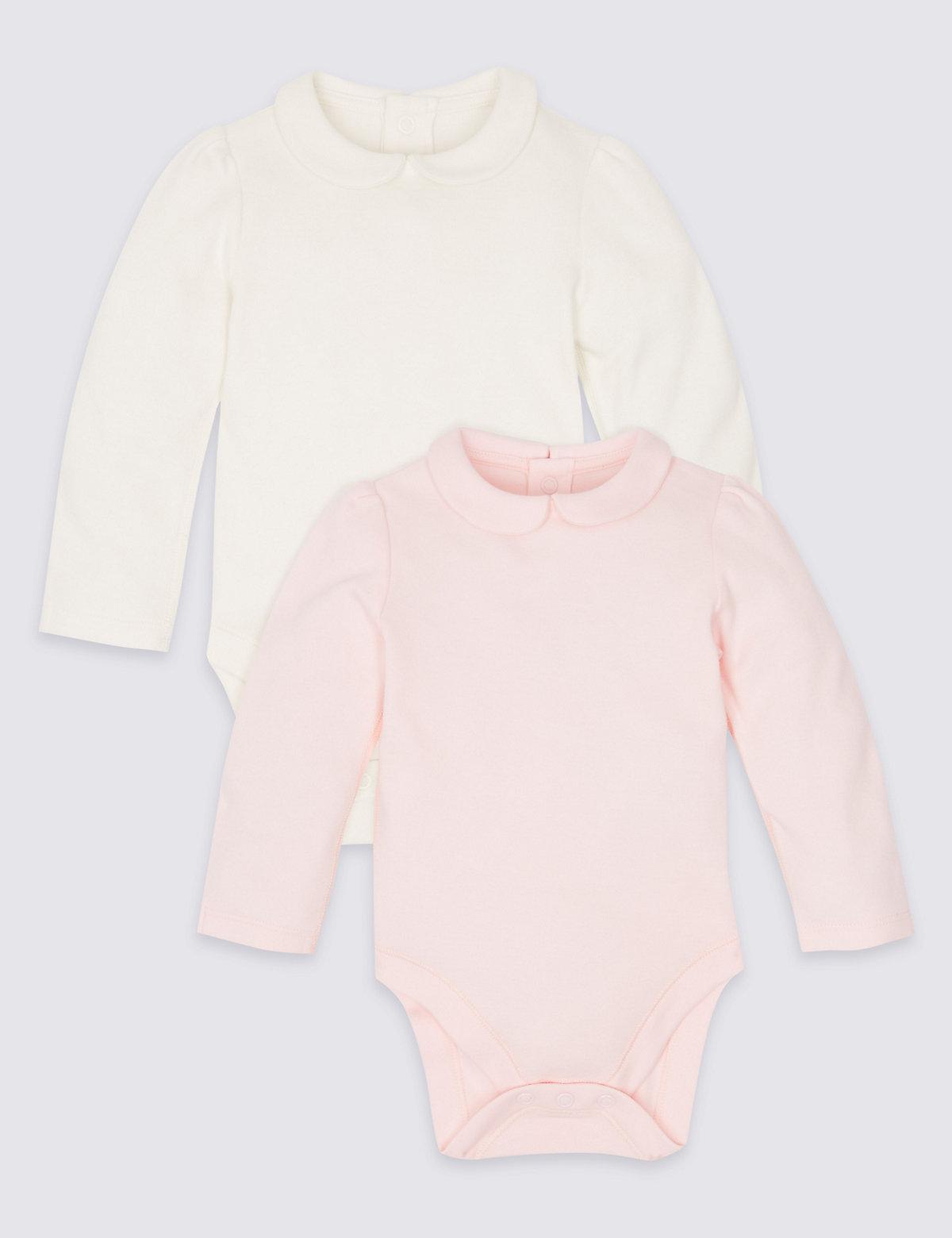 2 Pack Pure Cotton Peter Pan Collar Bodysuits