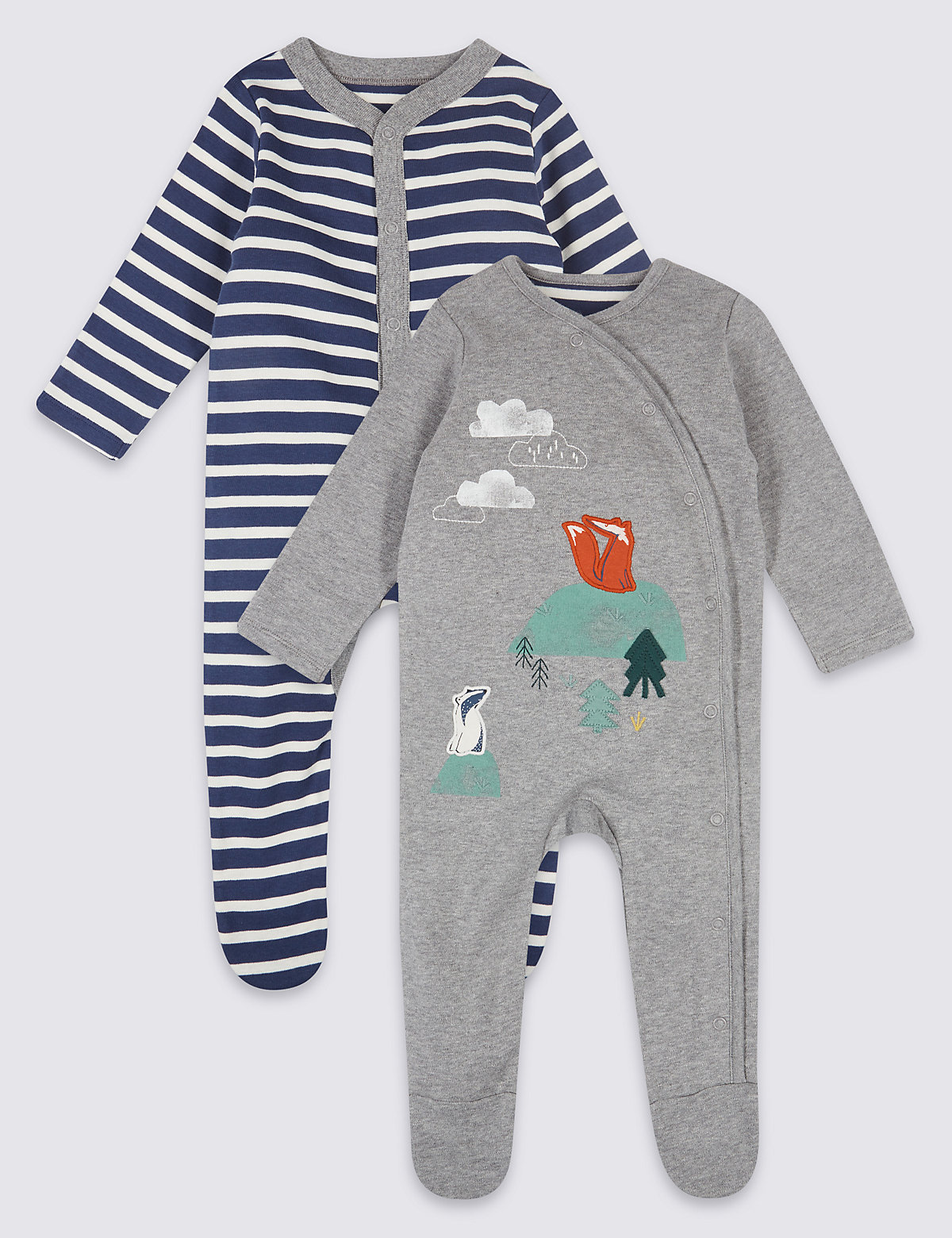 2 Pack Pure Cotton Woodland Sleepsuits