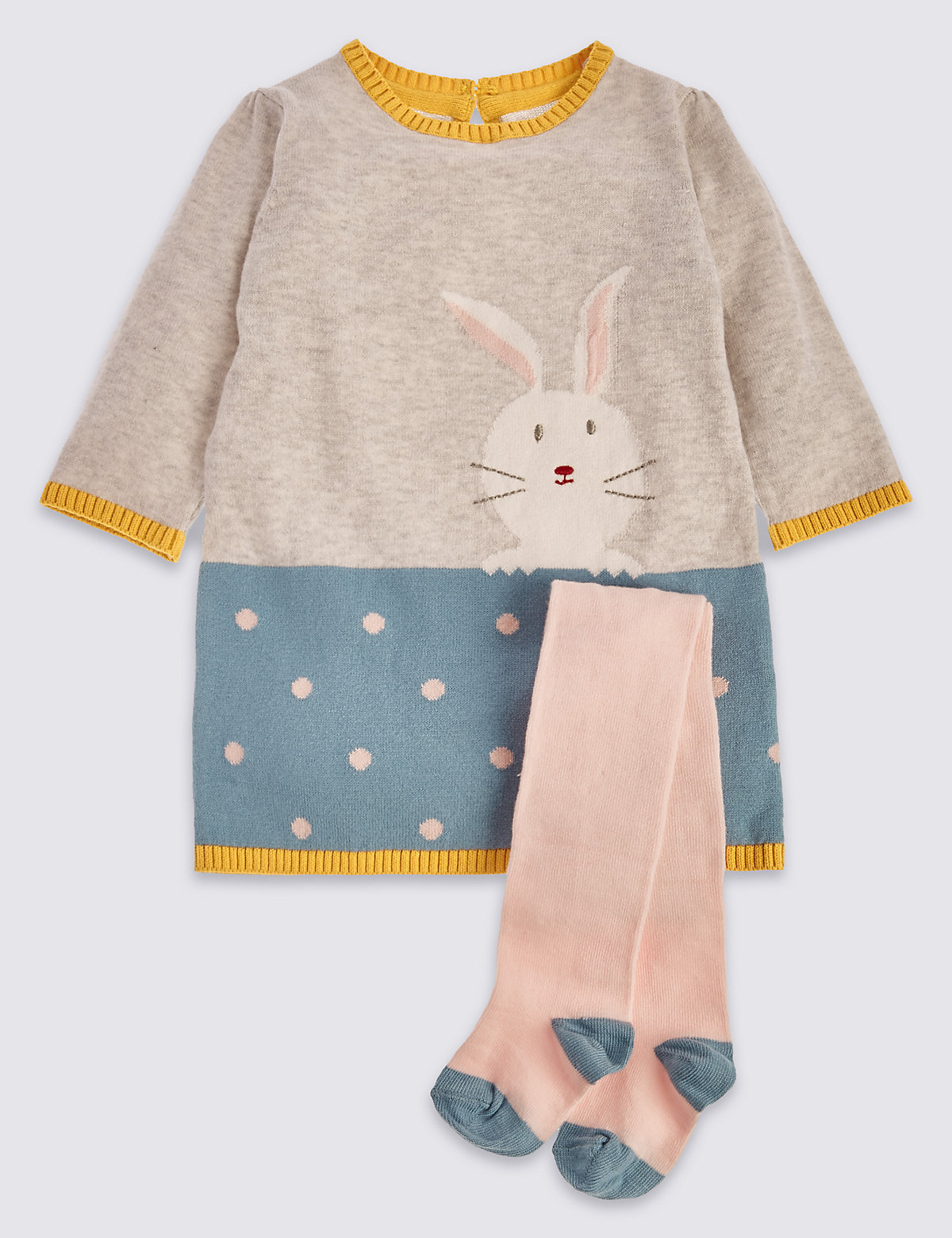 2 Piece Pure Cotton Bunny Appliqué Knitted Dress