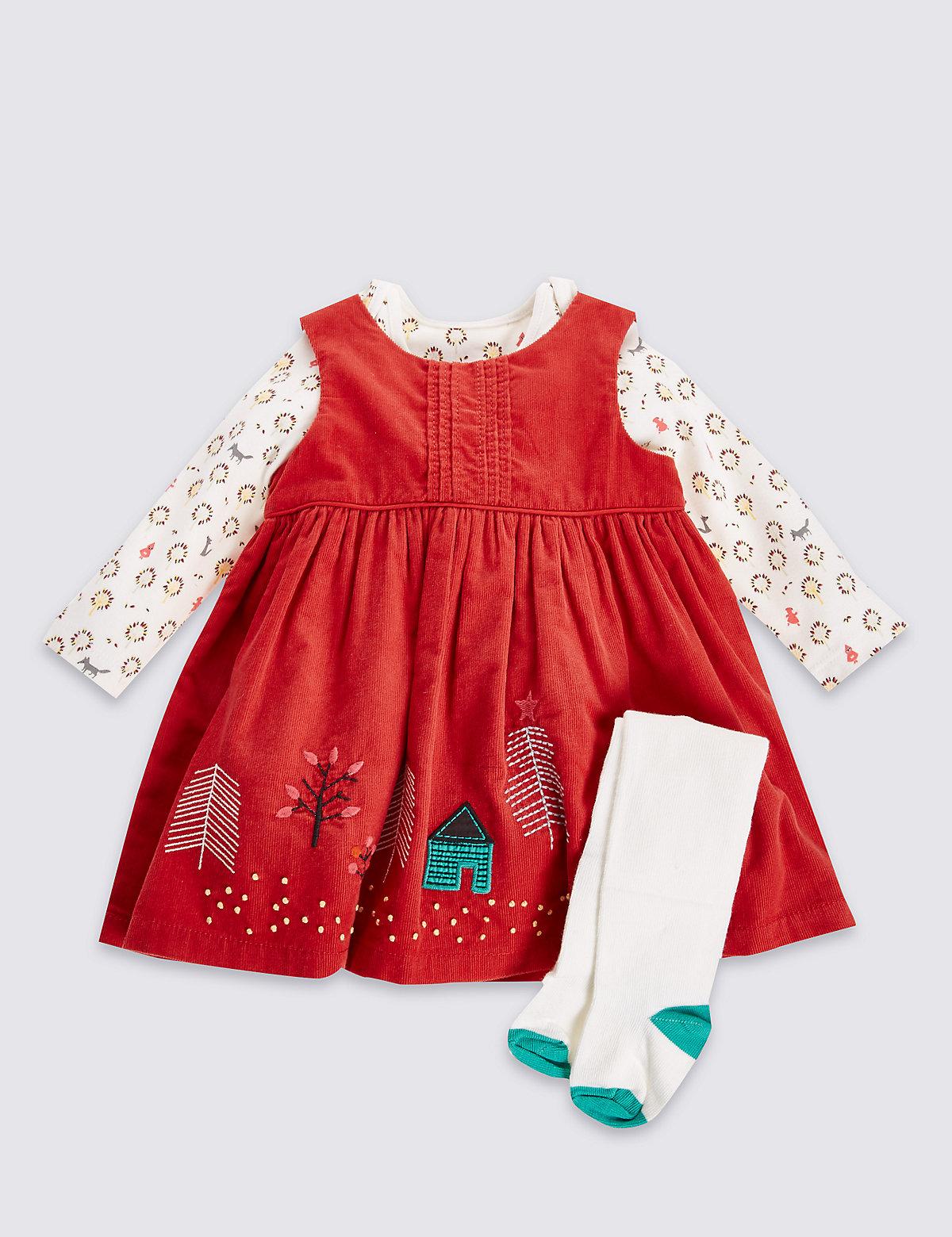 3 Piece Pure Cotton Applique Cord Pinny Dress