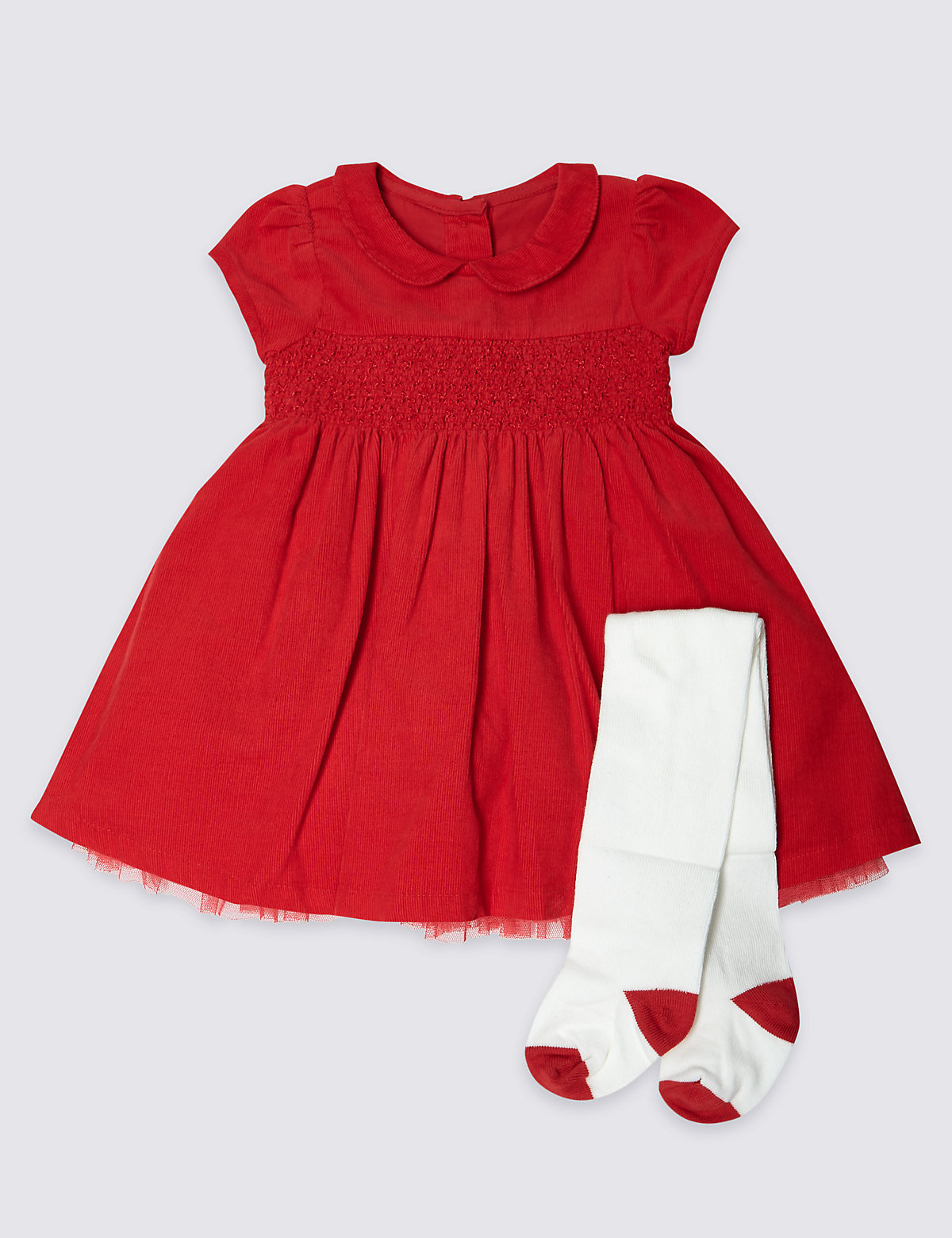 2 Piece Short Sleeve Cord Dress with Tights