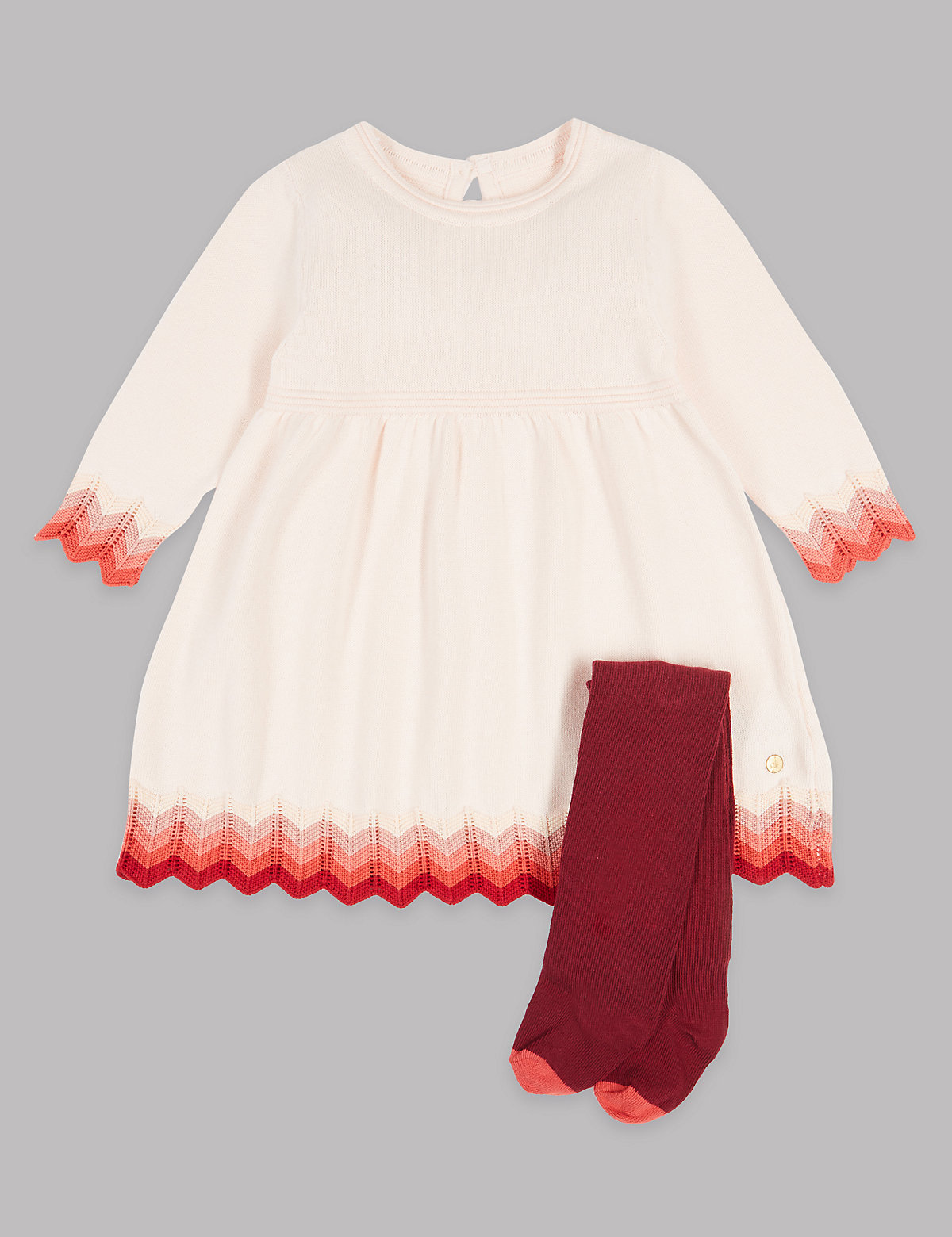 Autograph 2 Piece Intarsia Knitted Dress with Tights