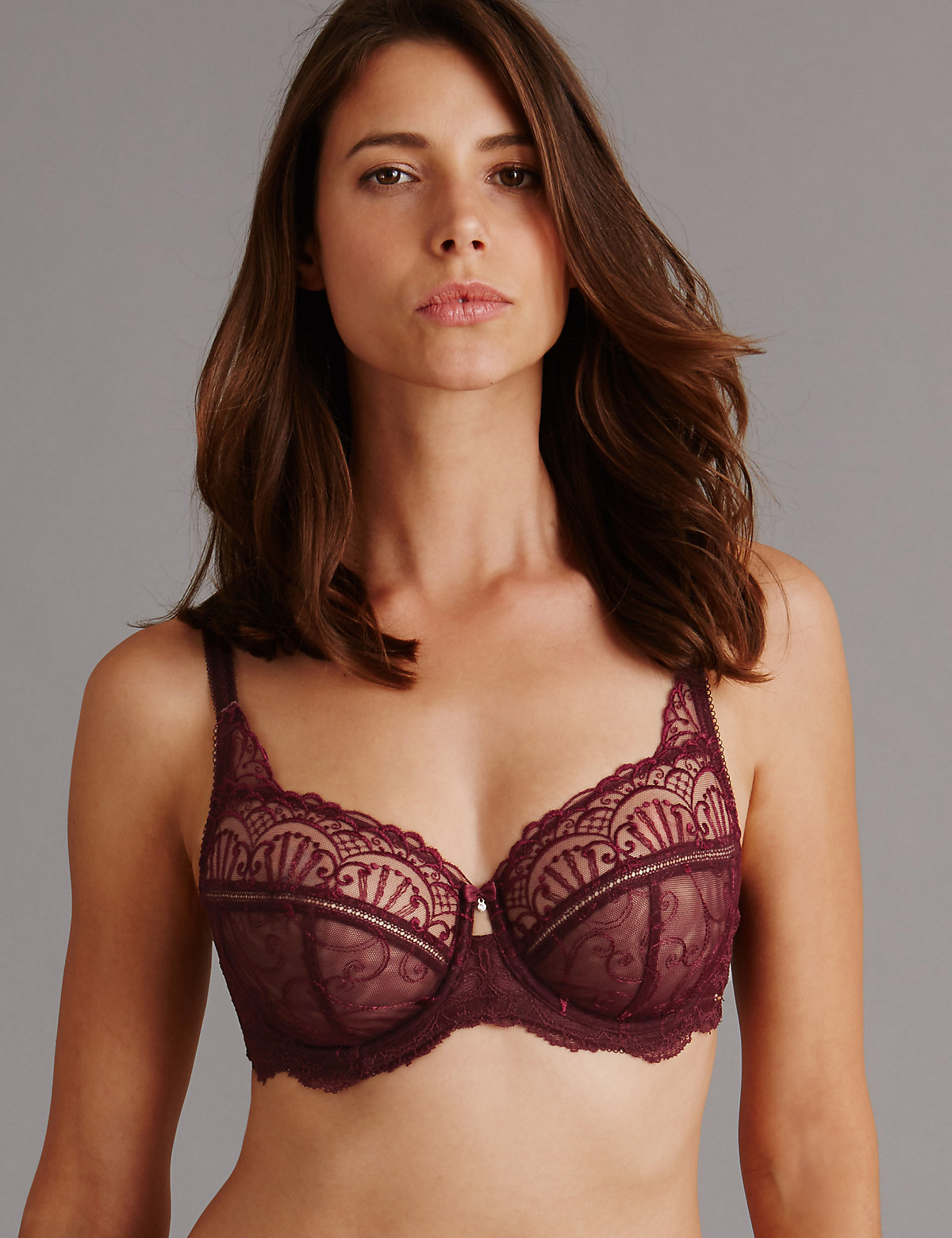 Autograph Ornamental Embroidery Non Padded Underwired Balcony Bra Dd-g