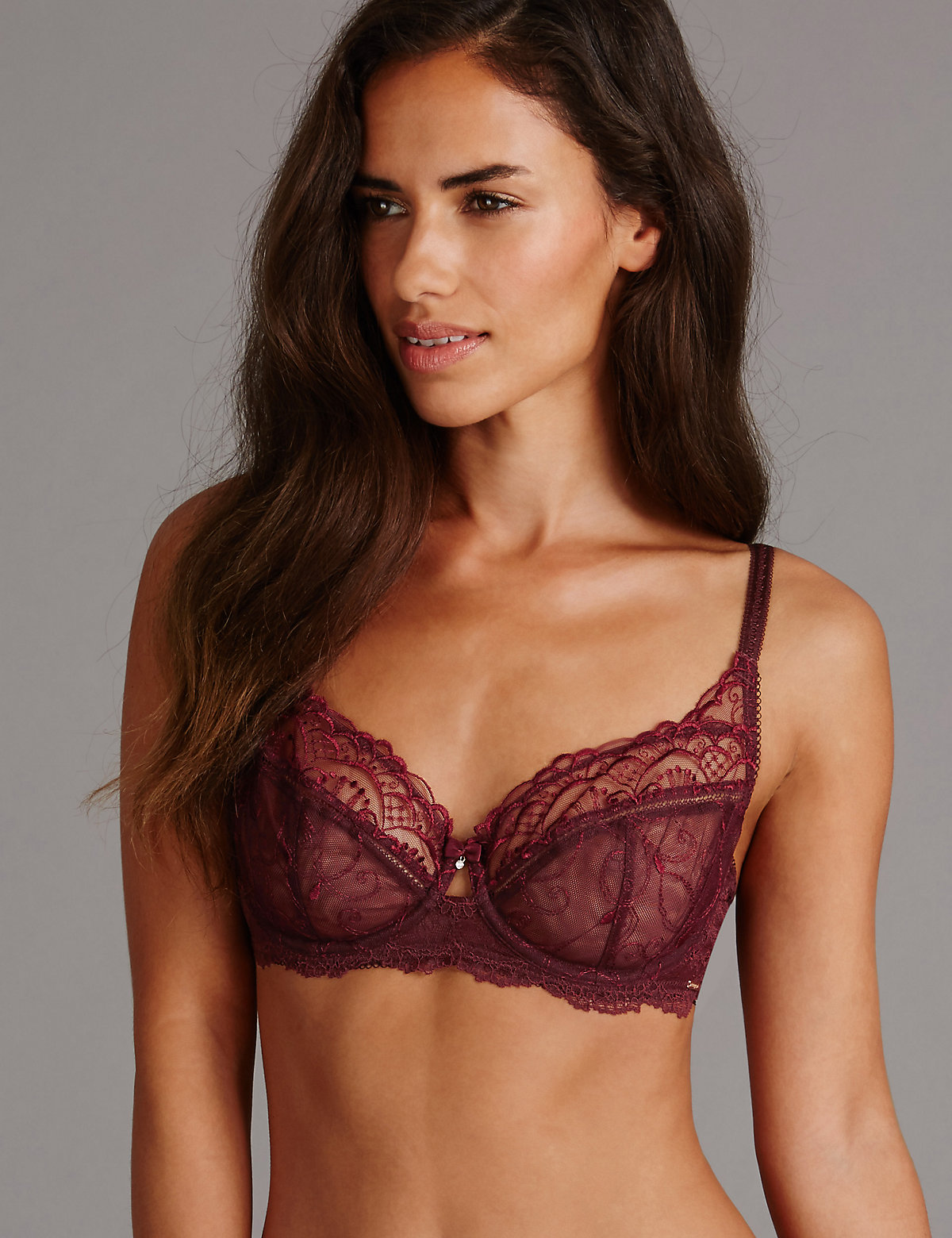 Autograph Ornamental Embroidered Non Padded Balcony Bra