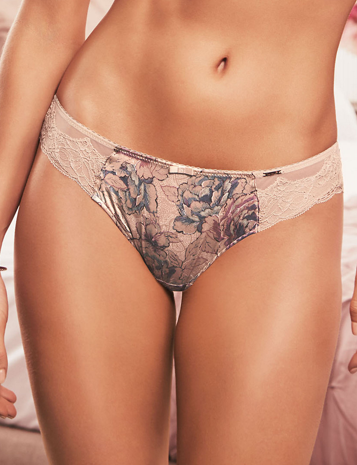 Rosie For Autograph Silk & Lace Print Brazilian Knickers