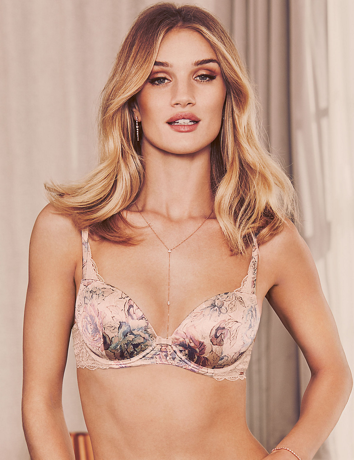 Rosie For Autograph Silk & Lace Print Padded Balcony Bra A-e
