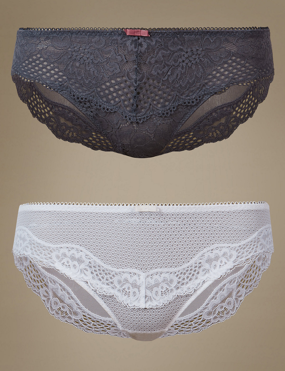 M&S Collection 2 Pack Textured Lace Brazilian Knickers