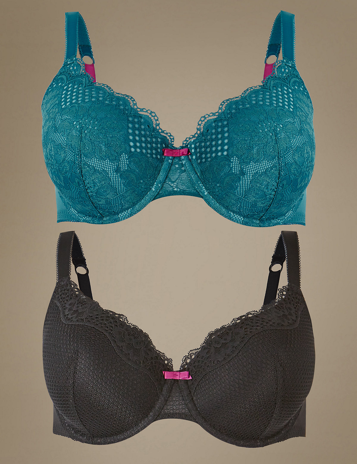 M&S Collection 2 Pack Textured & Lace Padded Full Cup Bra A-E