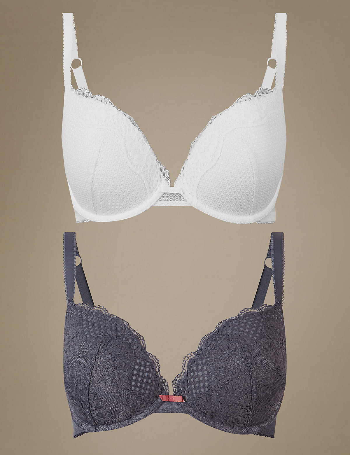 M&S Collection 2 Pack Textured & Lace Push-Up Plunge Bra A-DD