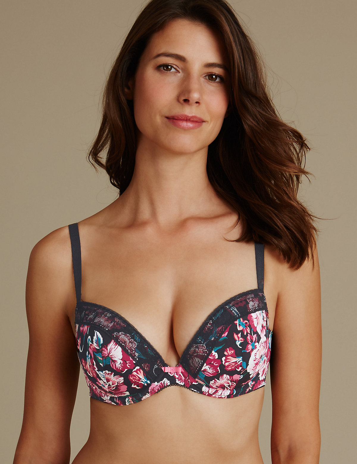 Limited Collection Floral Print Padded Plunge Bra Dd-gg