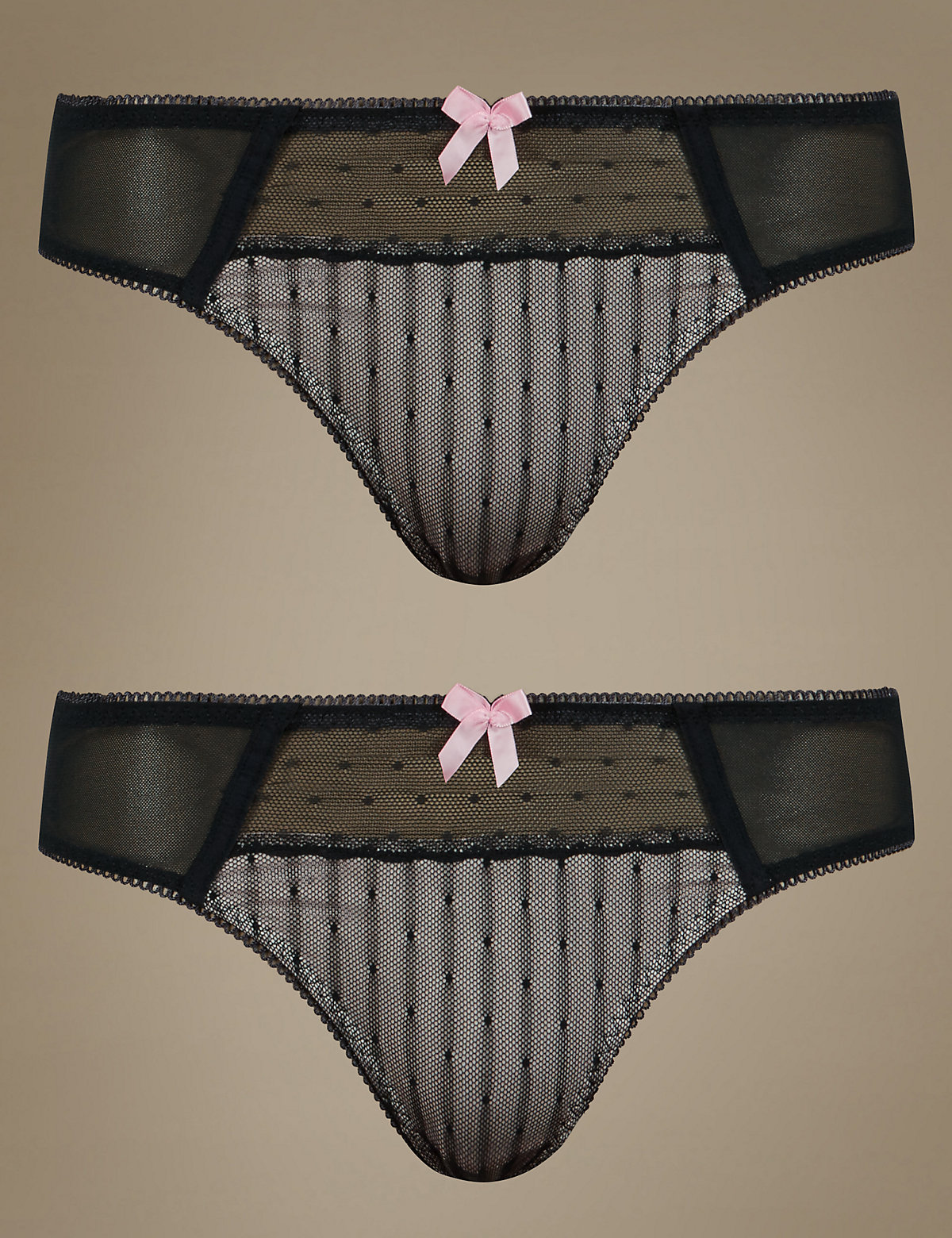 M&s Collection 2 Pack Spotted Textured Brazilian Knickers