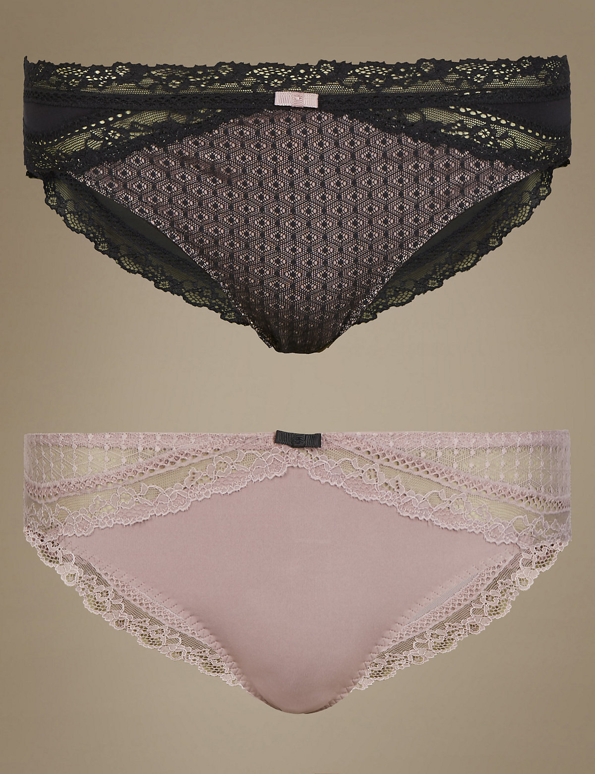 Limited Collection 2 Pack Textured Brazilian Knickers