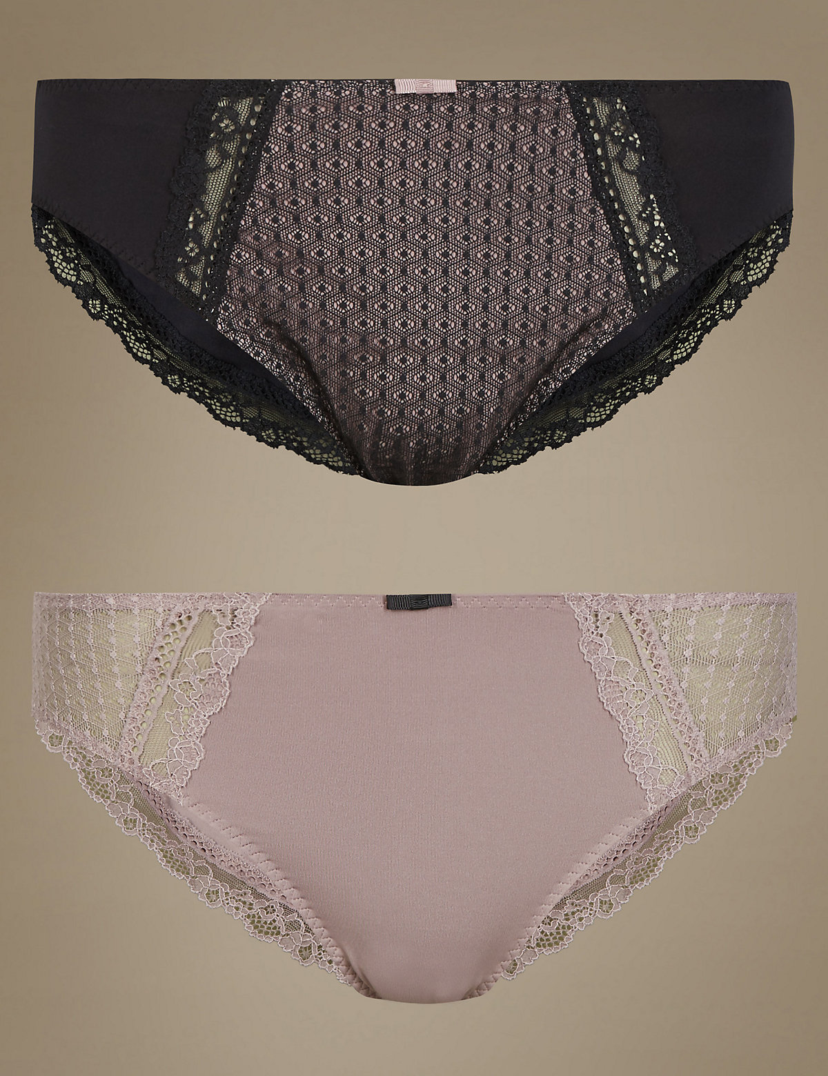 Limited Collection 2 Pack Textured High Leg Knickers