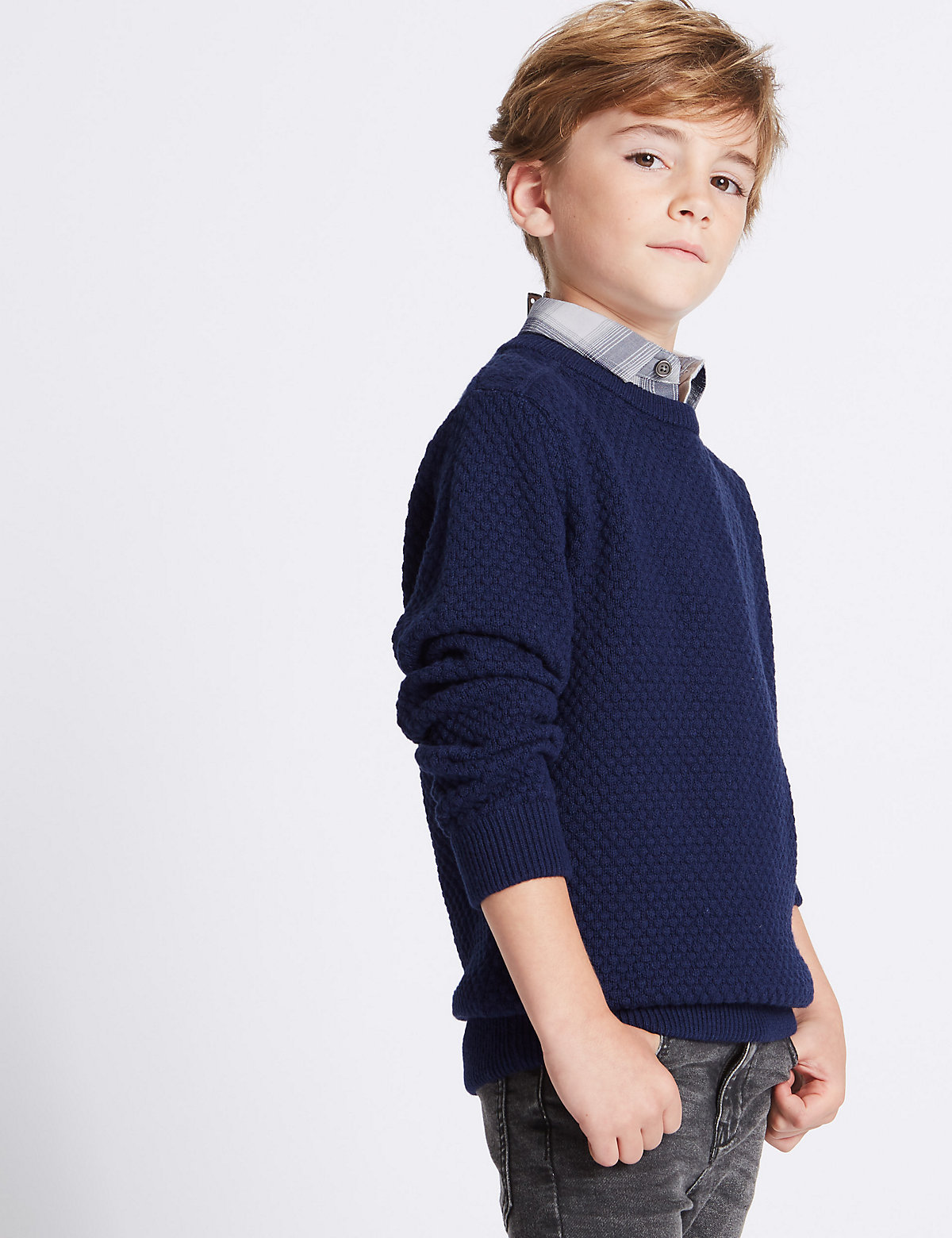 Cotton Rich Mock Shirt Knitted Jumper (3-14 Years).