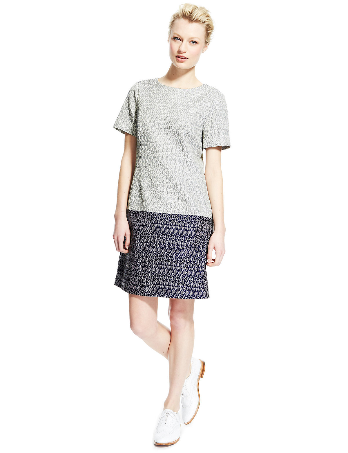 M & S Collection Best of British Jacquard Dot Shift Dress with Silk