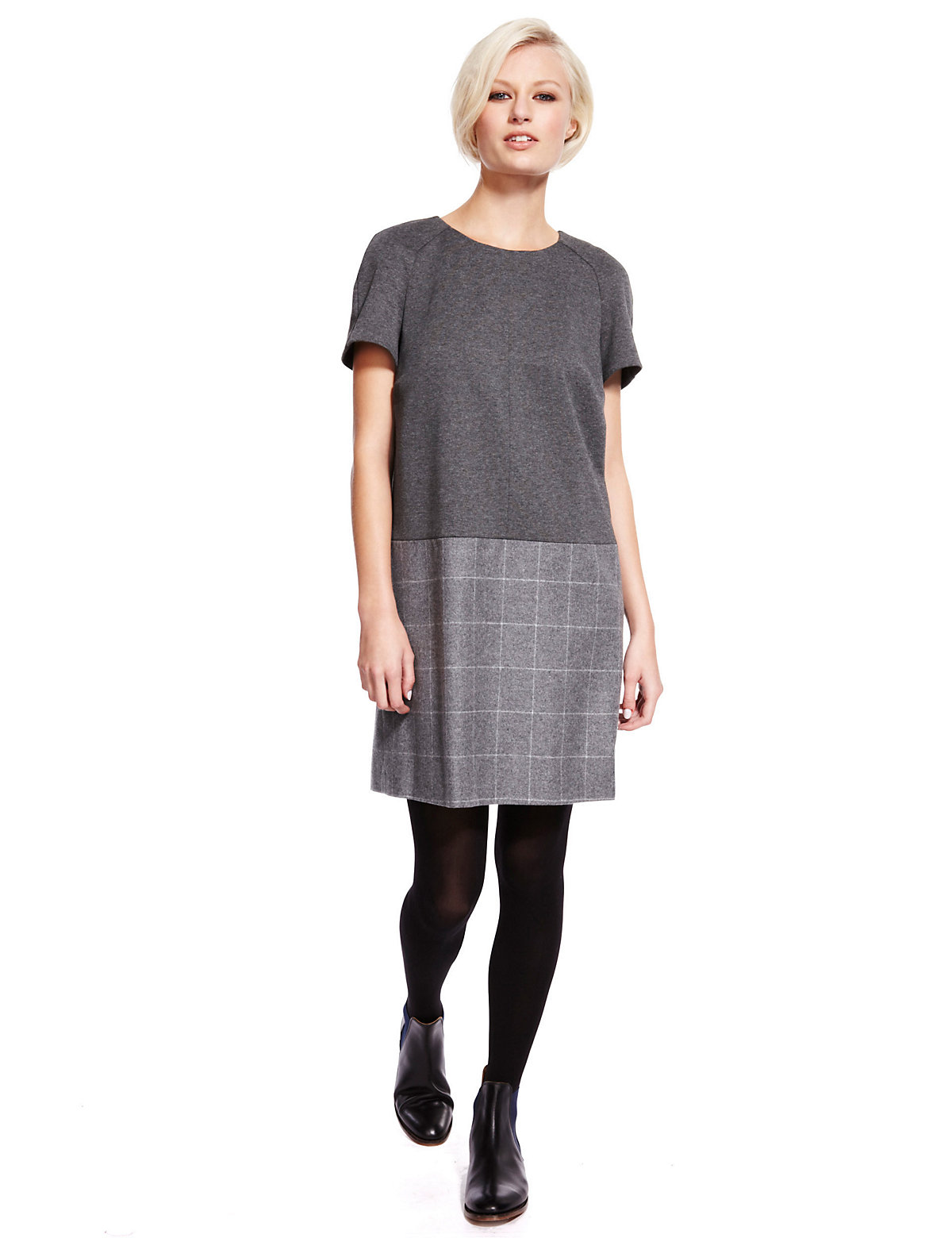 M & S Collection Best of British Wool Rich Checked Shift Dress with Cashmere