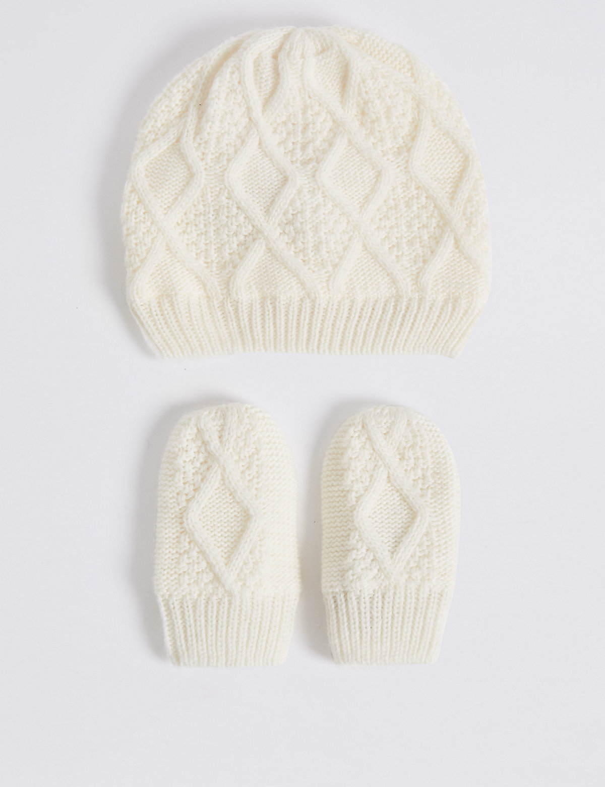 Baby Cable Hat & Mittens Set