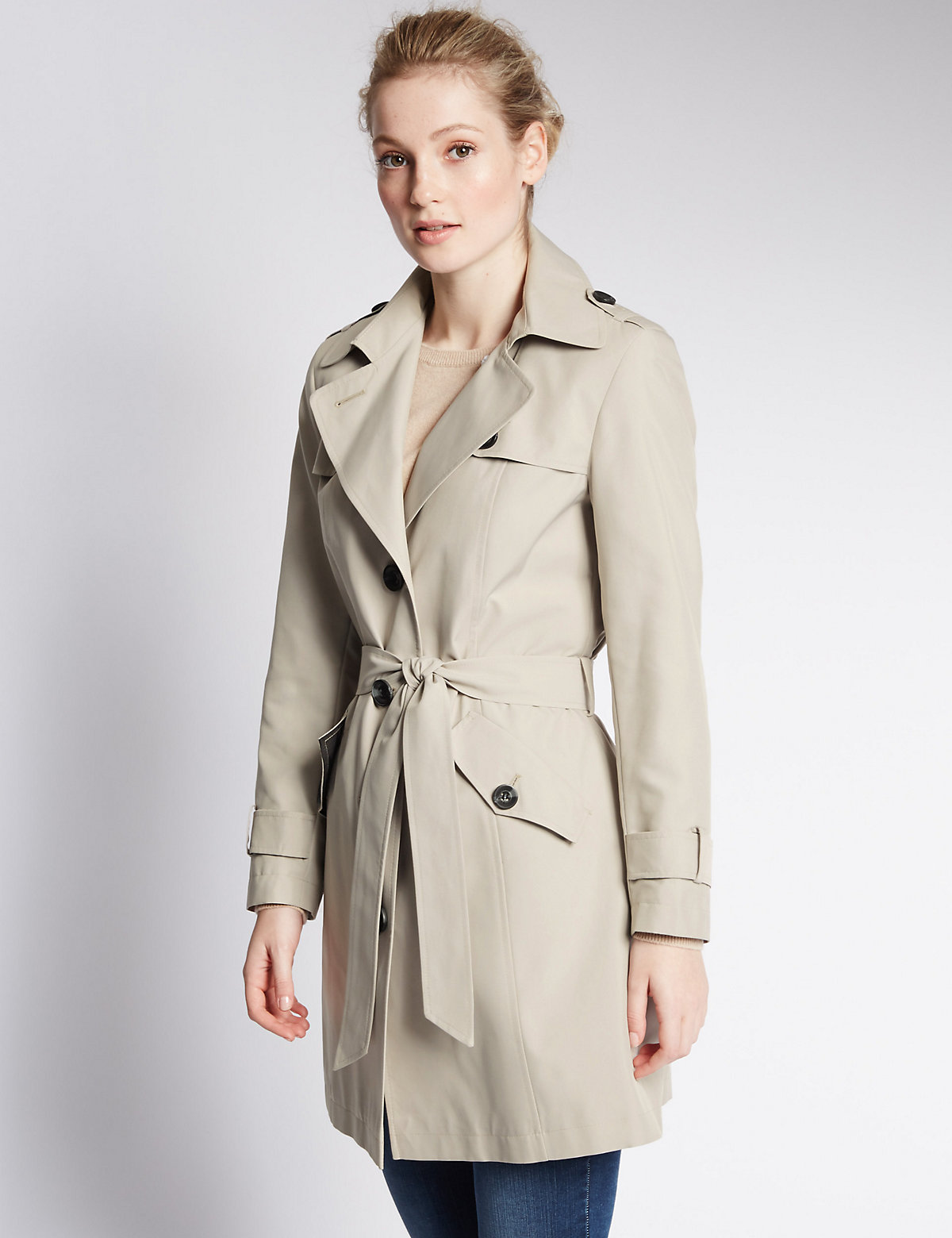 M&S Collection PETITE Button Through Belted Mac