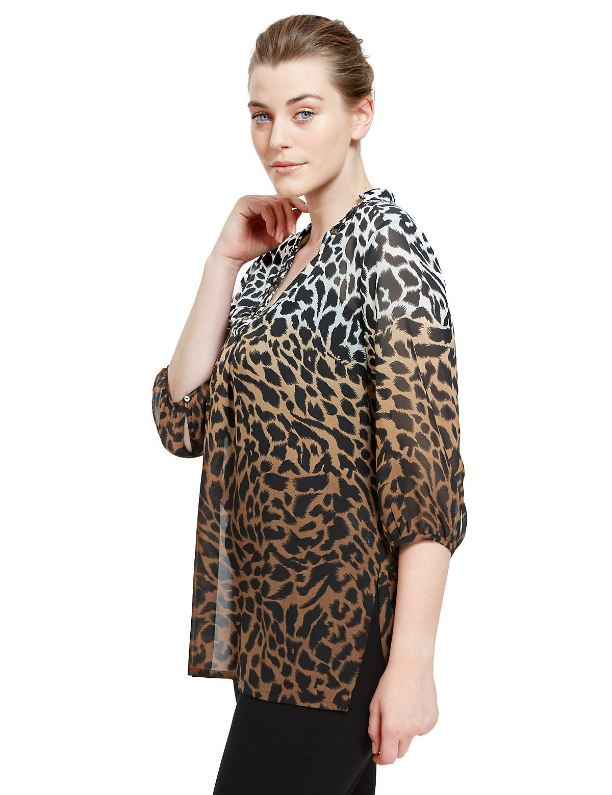 M&S Collection PLUS Embellished Neckline Animal Print Blouse