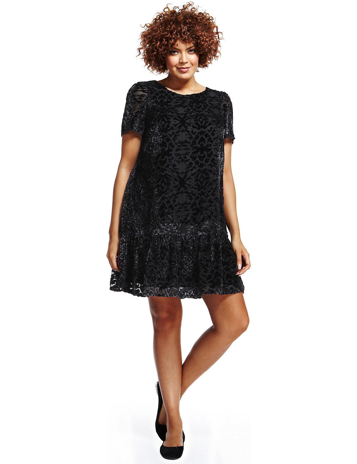 M  S Collection Plus Velour Burnout Drop Waist Dress $49.50 AT vintagedancer.com