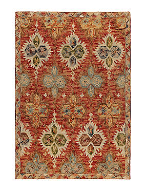 Pure Wool Rebecca Floral Rug, RED MIX, catlanding